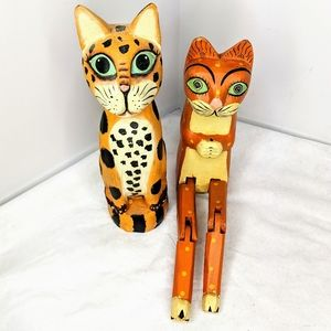 Pair of Frisky Felines Wooden Cats from India